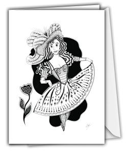 Carte de souhaits - Dame élégante