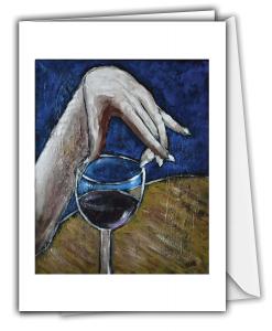 Carte de souhaits - Main et vin